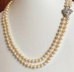 Stunning 'Art Nouveau' Clasp, Mid Century 'Pearls' Necklace