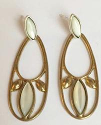 Sweet 'Moonstone' Long Dangling, Pierced 'CP' Earrings