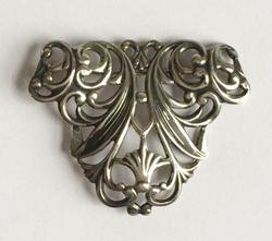 Finely Detailed, 'Sterling' Silver, Filigree 'Art Nouveau' Brooch Pin