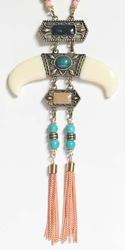 Incredible, Tiered 'Tribal Medallion' Beads & Tassel Necklace