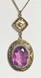 1930s Art Nouveau, Amethyst Crystal, Antique Gold Filled, Pendant Necklace