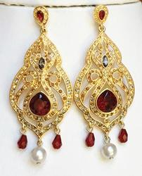 Romantic, Victorian Style, Dangling Red Crystal & Pearl Earrings