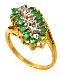 Emerald & Diamond Cluster Ring in Gold, Size 6