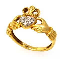 Gold Claddagh Ring with Diamond Accents, Size 5