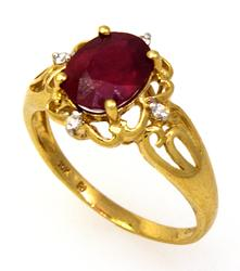 Ruby Ring with Diamond Accents in Gold, Size 8