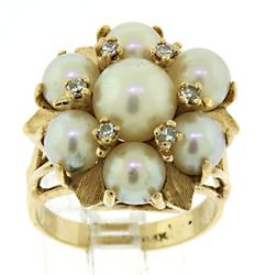 14kt Pearl & Diamond Cocktail Ring