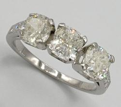 3 Stone Cushion Cut Diamond & Platinum Ring