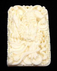 Hand Carved Bone Detailed Dragon Pendant