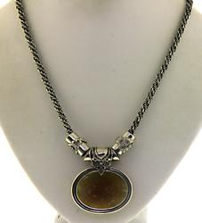 Iridescent Roman Glass Pendant Necklace in Sterling
