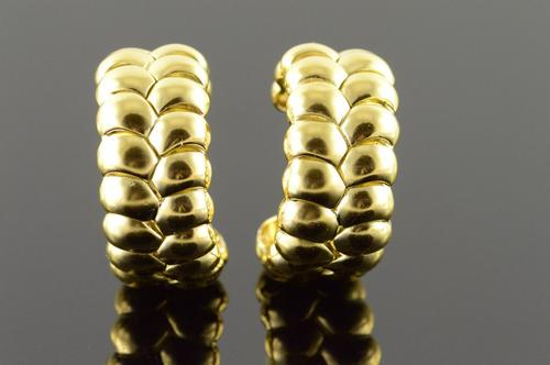 18K Yellow Gold Heavy Designer Ribbed Hoop Cuff Clip On EarRings