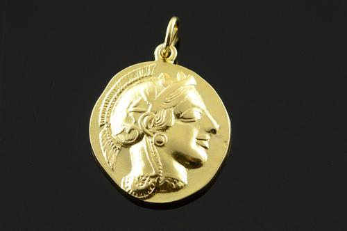 18K Yellow Gold Greece Gladiator Tribute Coin Pendant