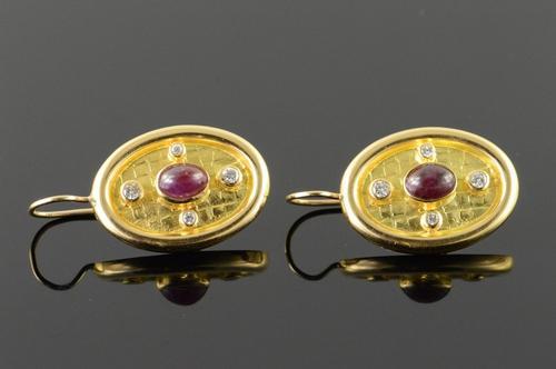18K Yellow Gold 2.25 CTW Ruby Diamond Custom Oval Hook EarRings