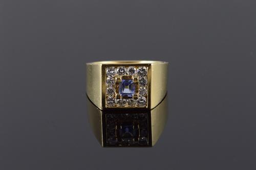 14K Yellow Gold 1.60 CTW Tanzanite Diamond Halo Men's Ring