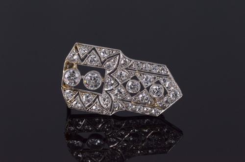 K White Gold Art Deco 1.75 Ctw Diamond Milgrain Geometric Pin/Brooch