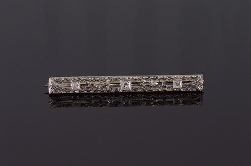 14K White Gold Art Deco Diamond Lattice Filigree Scroll Bar Pin/Brooch