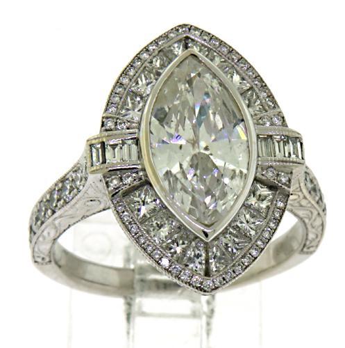 Spectacular Multi Diamond Marquise Ring in 18K