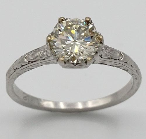 Large 1 CT Diamond Solitaire Filigree Ring in Platinum