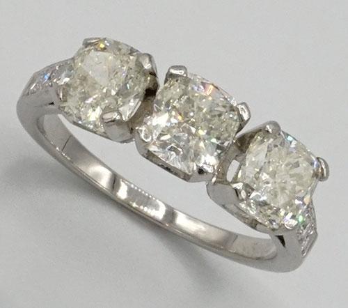 3 Stone Cushion Cut Diamond & Platinum Ring
