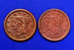 Pair of Braided Hair Large Cents 1849-1850