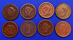8 Different Date Large Cents