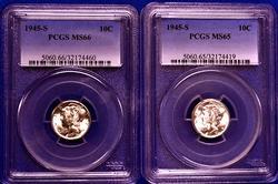 1945-S MS65 & 66 Mercury Dime Pair