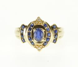 14K Yellow Gold 0.77 Ctw Sapphire Diamond Accented Pointed Ring