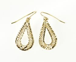 14K Yellow Gold Rope Scroll Teardrop Dangle Hook Back EarRings