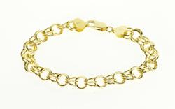 14K Yellow Gold Double Circle Fancy Link Chain Bracelet