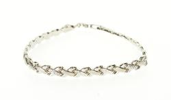 10K White Gold Two Textured Criss Cross X Link Bracelet