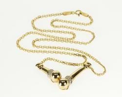14K Yellow Gold Ball Accent Chevron Diamond Pressed Chain Necklace