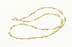 14K Yellow Gold Pearl Round Ball Bar Beaded Necklace
