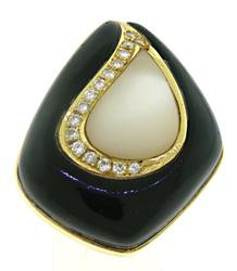 Dramatic 14kt Onyx & Pearl Cocktail Ring