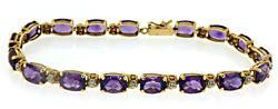 14kt Amethyst & Diamond Link Bracelet