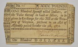 1778 100 Dollars Virginia Colonial Currency