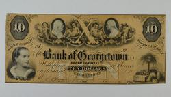 1857 $10.00 South Carolina Bank of Georgetown Note Large Size Note