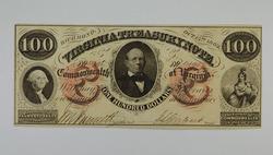 1862 $100.00 Virginia Treasury Note No. 1495 Large Horseblanket Note