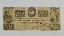 1840 $0.50 Fifty Cents Baltimore Savings Institution Bank Note