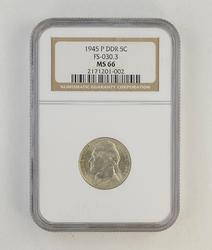 MS66 1945-P Jefferson Nickel - Double Die Reverse - NGC Graded