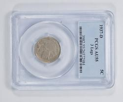 AU55 1937-D Buffalo Indian Head Nickel - 3 Legs - PCGS Graded