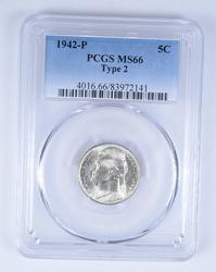 MS66 1942-P Jefferson Nickel - Type 2 - PCGS Graded