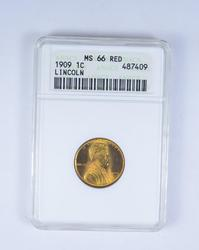 MS66 RD 1909 Lincoln Wheat Cent - ANACS Graded