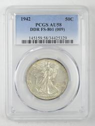 AU58 1942 Walking Liberty Half Dollar - PCGS Graded