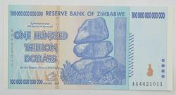 2008 Reserve Bank of Zimbabwe $100,000,000,000,000 Note