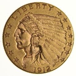1912 $2.50 Indian Head Gold Quarter Eagle - Near Uncirculated