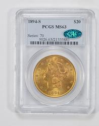 MS63 1894-S CAC $20 Liberty Head Gold Double Eagle - PCGS Graded