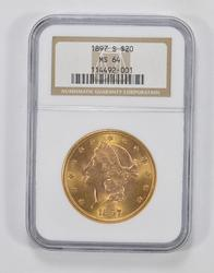 MS64 1897-S $20 Liberty Head Gold Double Eagle - NGC Graded