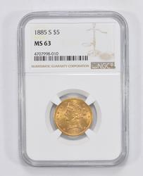 MS63 1885-S $5 Liberty Head Gold Half Eagle - Graded by NGC