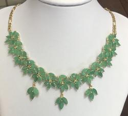40+ Carat Natural Emerald Necklace in 18kt Gold
