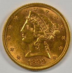 Great color 1899 US $5 Liberty Gold Piece