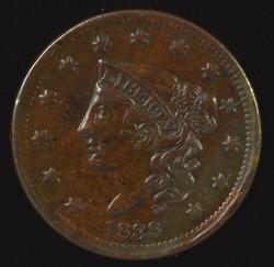 Glossy-brown AU 1838 Coronet Head Large Cent